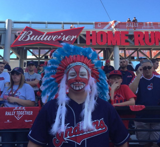 Red face and headdresses won't be allowed in Progressive Field any longer - PHOTO BY VINCE GRZEGOREK