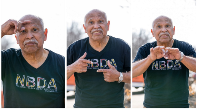 """Charles """"Chuck"""" V. Williams signing """"Black Lives Matter"""" - PHOTOS BY AMBER FORD"""