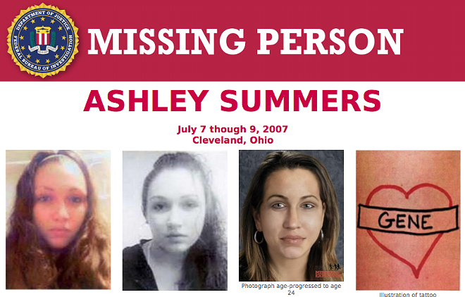 FBI's missing person poster for Ashley Summers - FBI