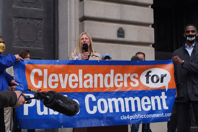 Ward 15 Councilwoman Jenny Spencer speaks in favor of adding a public comment period at Cleveland City Council meetings, (4/12/21). - SAM ALLARD / SCENE