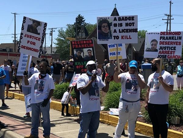 Demonstrators at a march for Desmond Franklin in June, 2020. - SAM ALLARD / SCENE