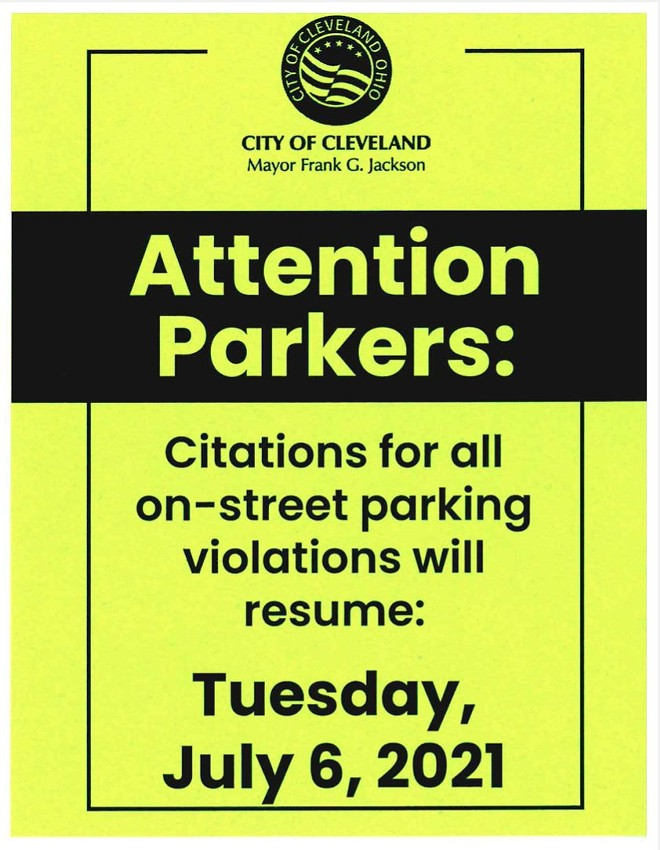 Parking tickets are back next week - CITY OF CLEVELAND
