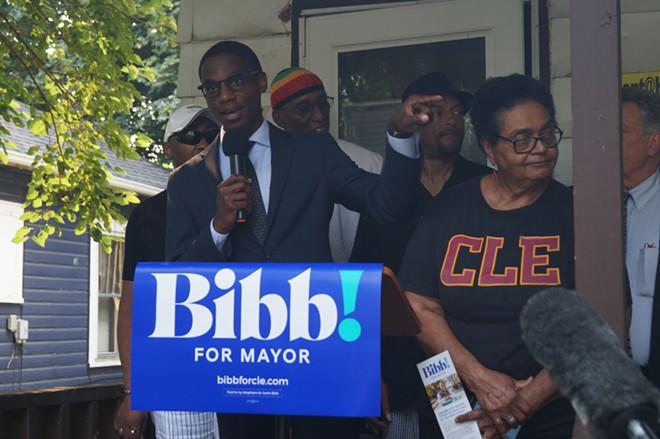 Justin Bibb, at a Holton-Wise property on Cleveland's west side, (7/20/21). - SAM ALLARD / SCENE