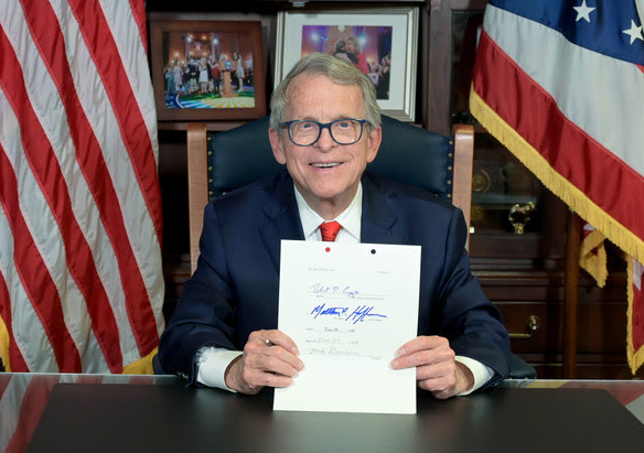 Gov. Mike DeWine after signing the $74 billion, two-year state budget. - OHIO GOV. OFFICE