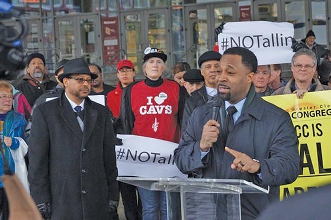 Rev. Colvin speaking at a rally - PHOTO BY SAM ALLARD