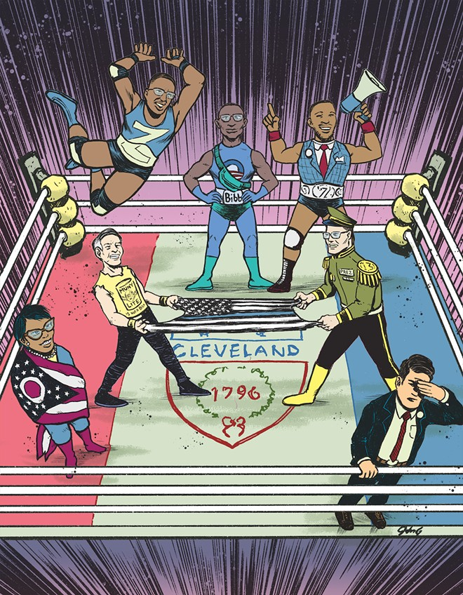 It's a battle royale to emerge from the Cleveland mayoral primary - ILLUSTRATION BY JOHN G.