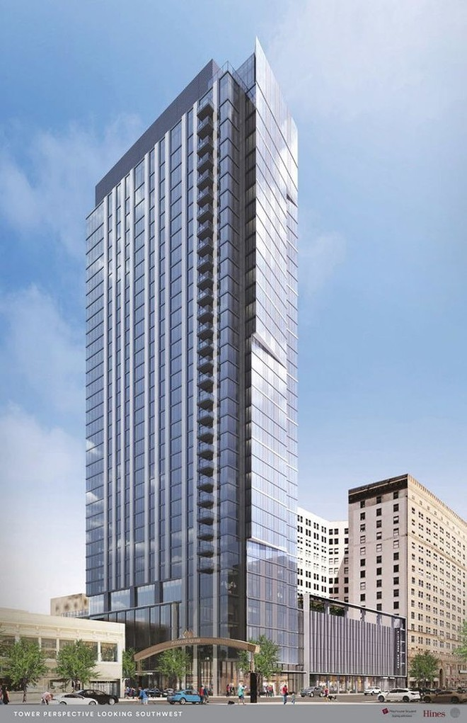 Rendering of the Lumen, the 34-story residential tower going up in Playhouse Square. - SCB