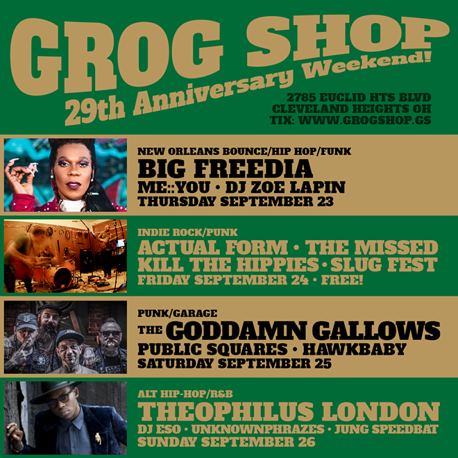 Flyer for Grog Shop's anniversary weekend. - COURTESY OF THE GROG SHOP