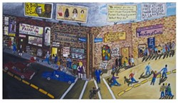 Standing at the Fork in the Road at Temptation and Salvation, 1997, acrylic on canvas, 51 1/4 x 90 3/4 inches. - LOVELACE