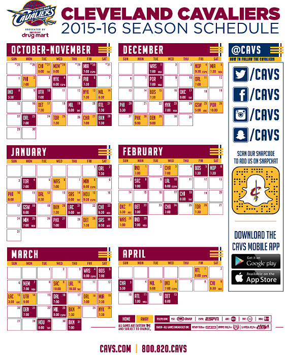 Here's the 2015 - 2016 Cleveland Cavaliers Schedule ...