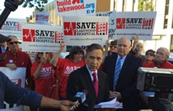 Former U.S. Rep. Dennis Kucinich speaks publicly about the proposal to shutter Lakewood Hospital. - ERIC SANDY / SCENE