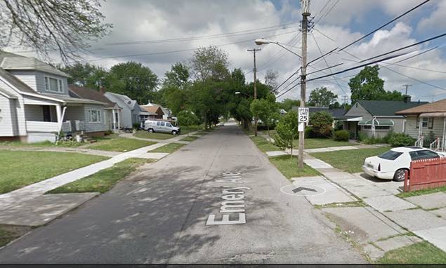 THE BLOCK OF EMERY AVENUE WHERE THE SHOOTING TOOK PLACE.