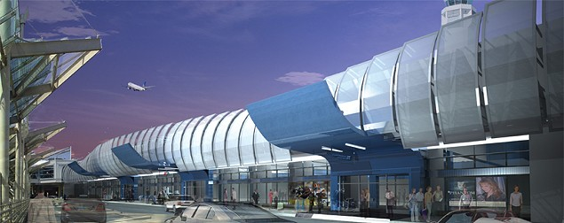 Rendering of Hopkins' new earthwormy facade. - CLEVELANDAIRPORT.COM