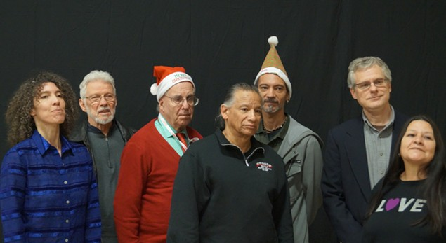 Local Native Americans and their legal team announce trademark petition at annual Christmas party. - SAM ALLARD / SCENE