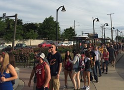 The line outside the West 117th/Madison Red Line stop, as of 7:38 a.m. - SEAN FLANAGAN