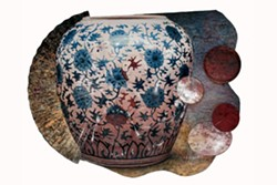 Daniel Kelly's Beauty and Chaos, oil and acrylic on Nepalese paper, Japanese lacquer ware and large folding fan.
