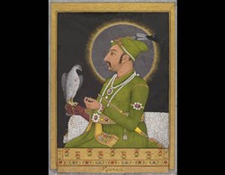 Posthumous portrait of the Mughal emperor Muhammad Shah (r. 1719–48) holding a falcon, 1764. Muhammad Rizavi Hindi (Indian, active mid-1700s). Mughal, probably Lucknow. Opaque watercolor with gold on paper; 28 x 23.8 cm (page); 14.4 x 10.3 cm (painting). The Cleveland Museum of Art, Gift in honor of Madeline Neves Clapp; Gift of Mrs. Henry White Cannon by exchange; Bequest of Louise T. Cooper; Leonard C. Hanna Jr. Fund; From the Catherine and Ralph Benkaim Collection, 2013.347 (recto)