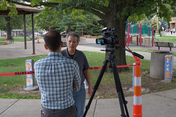 Former Councilman Jay Westbrook answers questions from Cleveland.com's Cory Shaffer. (Westbrook said he was there on behalf of Councilman Matt Zone, who is out of town.) - SAM ALLARD / SCENE