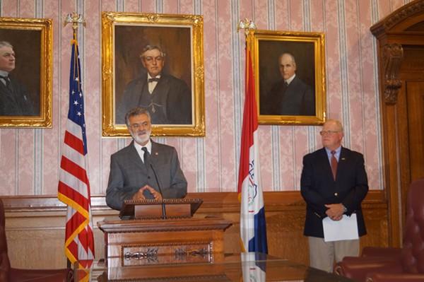 Mayor Frank Jackson and RTA CEO Joe Calabrese address the media. - SAM ALLARD / SCENE
