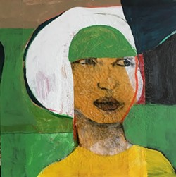 """White Wig: Entering the Green Room"" (2016) 30""/30"" acrylic paint, pastel, shellac on canvas."