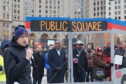Transit advocates on Public Square Saturday. (Councilman Zack Reed and ATU Local 268 Prez Ron Jackson front and center.) - SAM ALLARD / SCENE