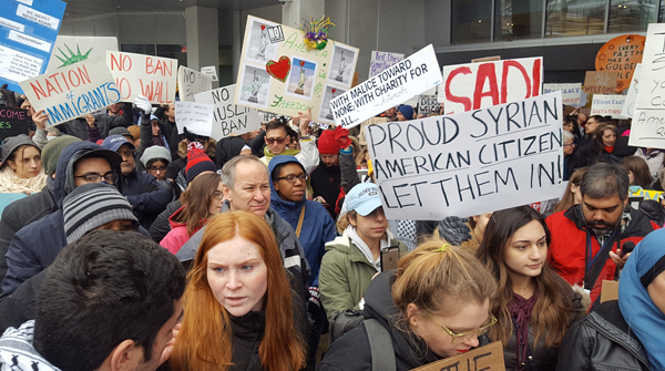 SCENE FROM YESTERDAY'S PROTEST AT HOPKINS