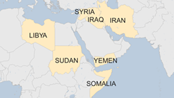 The seven countries from which travelers to the U.S. are temporarily banned. - BBC