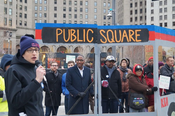 Councilman Zack Reed and others at a Public Square rally. - SAM ALLARD / SCENE