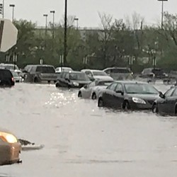 Brooklyn Sam's Club during yesterday's flash flooding. - PHOTO VIA MAILMANTAZ/INSTAGRAM