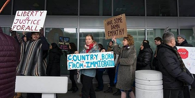 Emergency rally against the proposed travel ban at Cleveland-Hopkins Airport on Jan. 27. - APRIL BLEAKNEY