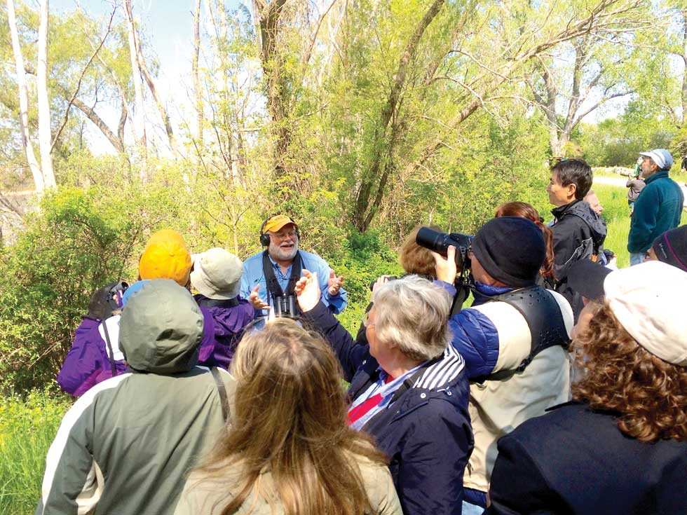 Greg Miller offers birding wisdom to a group at Magee Marsh. - PHOTO BY ERIC SANDY