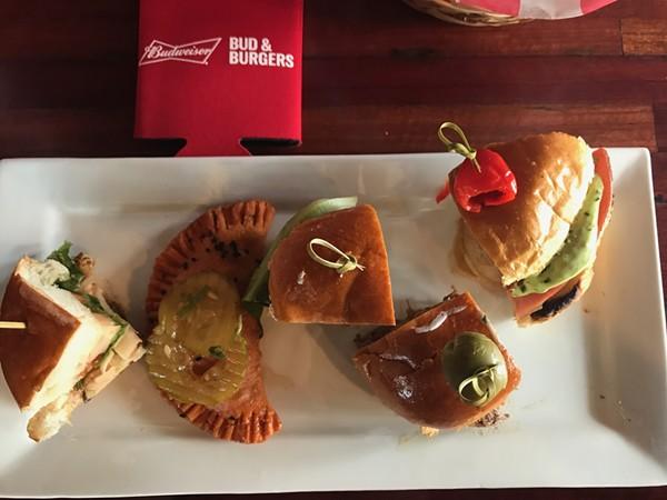 From left to right: The Mojo Burger, Empanadas Hamburgesa, Colorado Lamb Kefta Burger, The French Flip and ZB's Big Shot Burger.