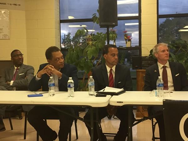 L-R:  Zack Reed, Eric Brewer, Jeff Johnson, Brandon Chrostowski; Mayoral Candidates' Forum 7/24/2017 - SAM ALLARD / SCENE