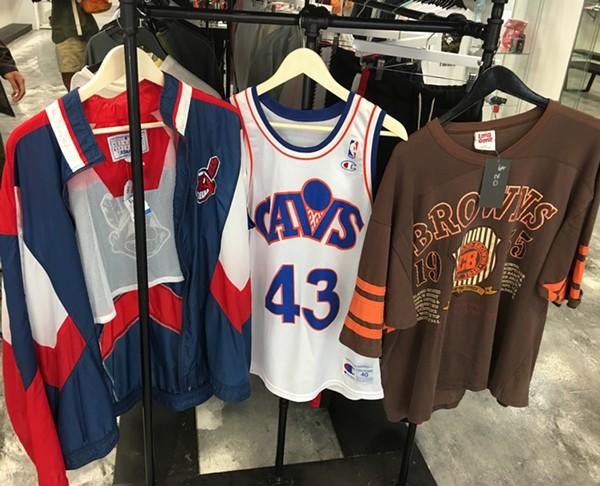 Vintage Indians jacket, Brad Daugherty Cavaliers' Jersey and a Browns sweatshirt - BRETT ZELMAN
