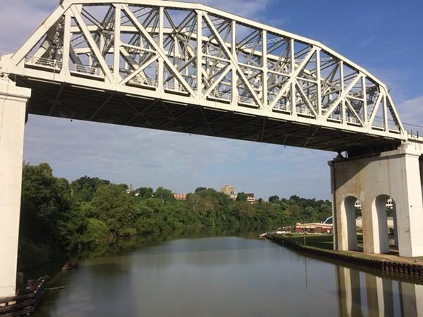 Irishtown Bend, as seen from the Columbus Avenue bridge. The acreage in question wraps around to Detroit Avenue. - ERIC SANDY / SCENE