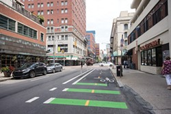 Downtown Pittsburgh Bike Lanes - PHOTO BY JAKE MYSLIWCZYK