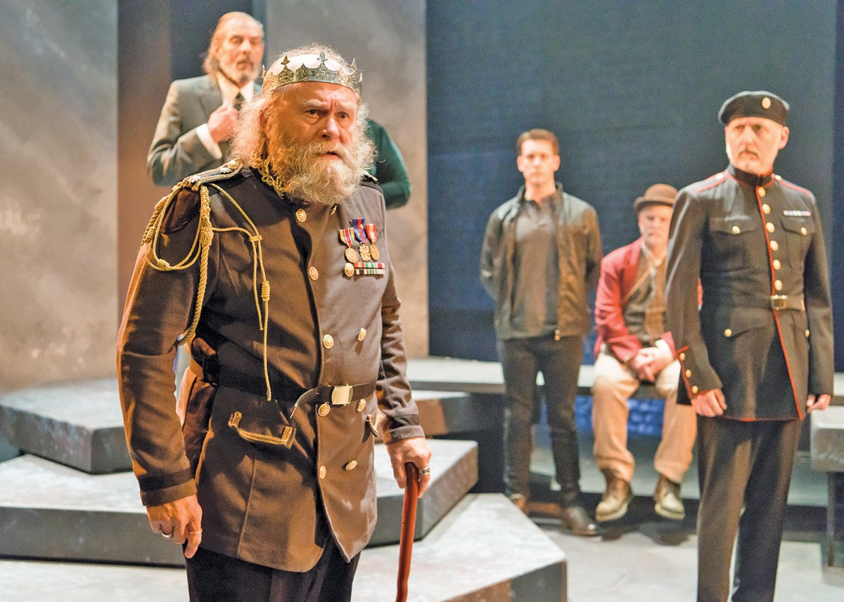 Robert Hawkes, left, leads the Beck Center cast in the title role of King Lear.