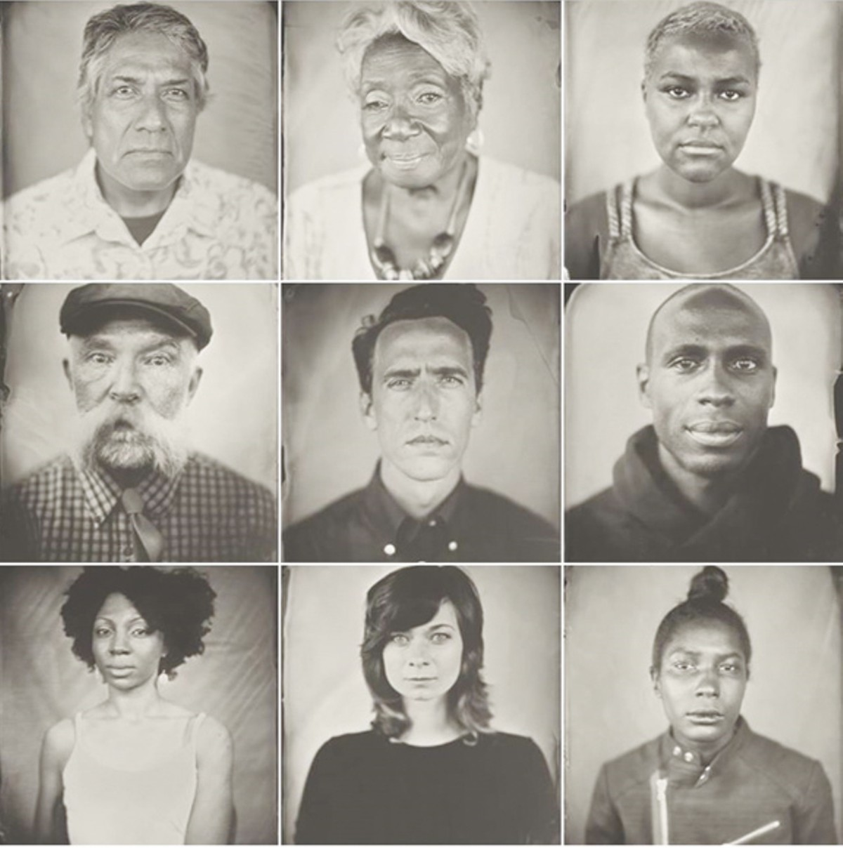 A collection of Clevelanders' tintype portraits captured by Keliy Anderson-Staley during her visit to Cleveland. Courtesy of the artist.