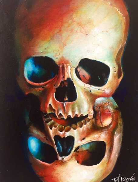"""Tim Kocevar's """"Duality,"""" acrylic on canvas. On view as part of the Skull & Skeleton in Art V: Folk Art to Pop Culture at the Gallery at Lakeland."""