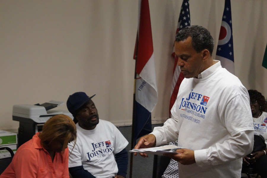 Jeff Johnson talks with supporters at his Glenville HQ after placing third in the Cleveland mayoral primary, (9/12/17). - SAM ALLARD / SCENE