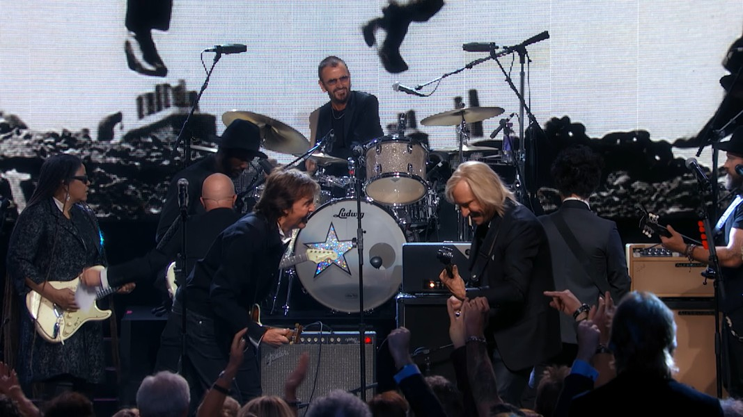 Paul McCartney, Ringo Starr and Joe Walsh perform in Cleveland at the 2015 Inductions. - COURTESY OF BROOKES COMPANY