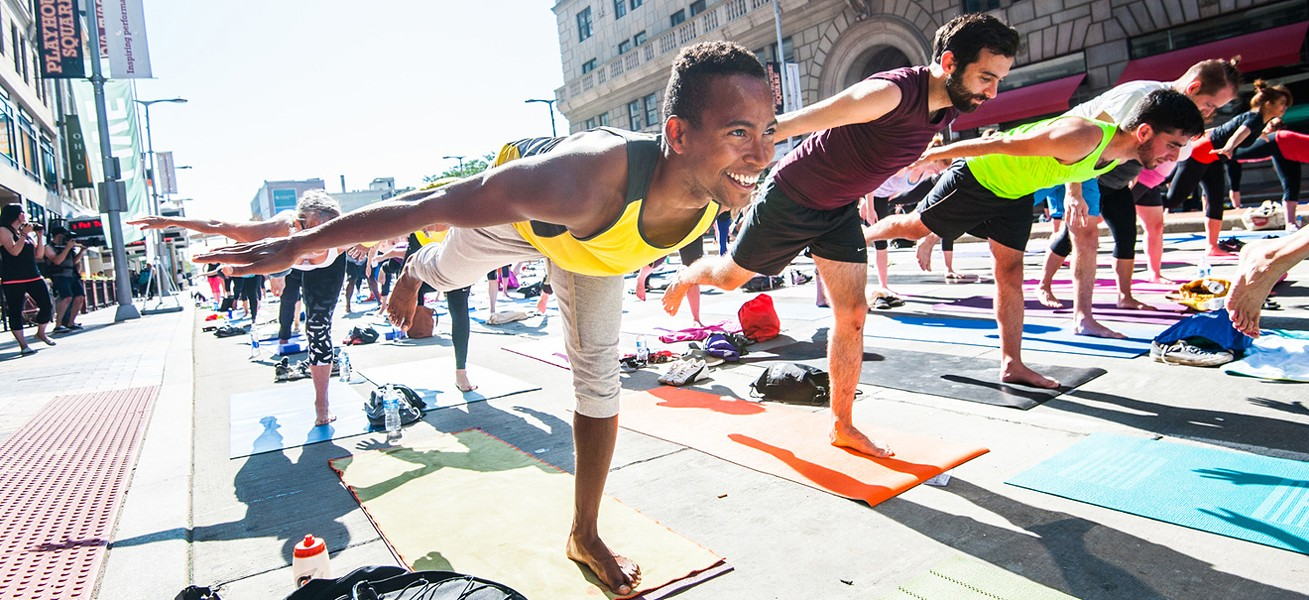 Yoga under the chandelier in Playhouse Square - SCENE ARCHIVES