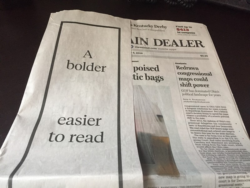 Ad for Plain Dealer redesign in Sunday 5/5/19 edition. - SAM ALLARD / SCENE