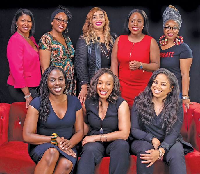 Top row from left to right: Tiffany Hollinger, Sharisse Edwards, TerDawn Deboe, Chinenye (ChiChi) Nkemere, Shemariah Arki. - Bottom row from left to right: Khalida Sims, Lauren Welch, Latoyia Jones - PHOTOS BY JEF JANIS