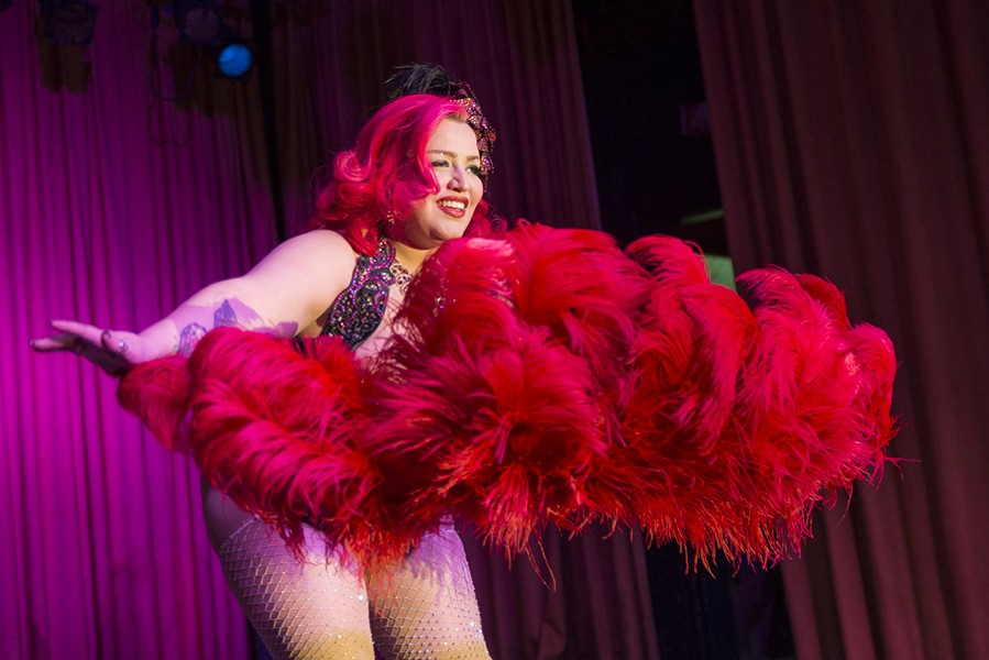 Bella Sin, photographed here, has been instrumental in popularizing burlesque performances in Cleveland over the past decade. - ALL PHOTOS BY BOB PERKOSKI