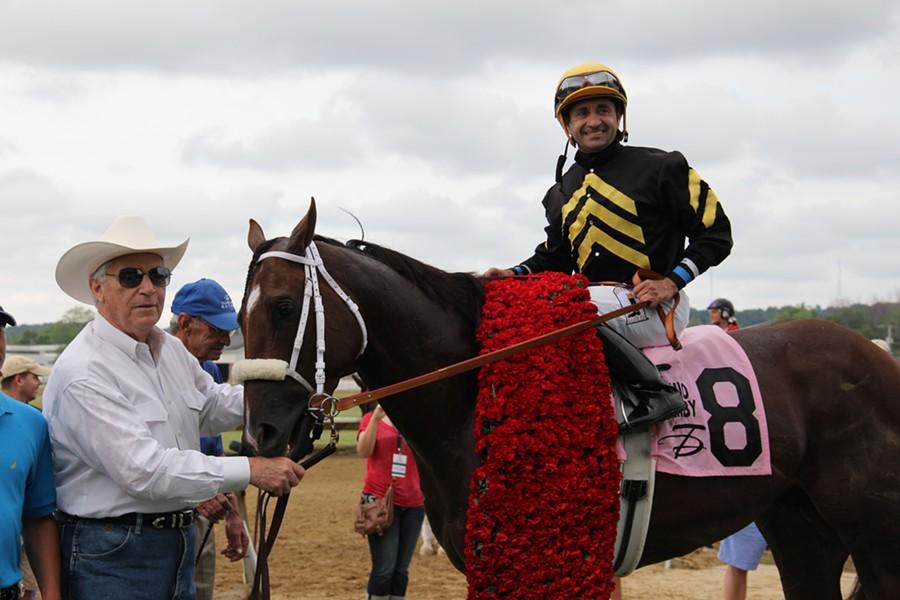 Trainer D. Wayne Lukas joins jockey Joe Bravo and horse Mr. Z - CAITLIN SUMMERS