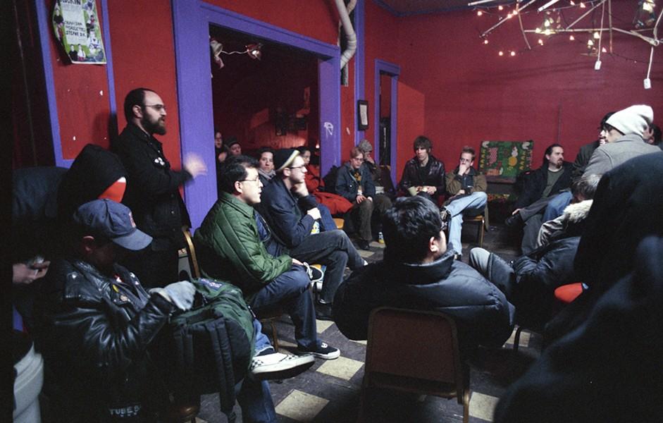 The collective meets inside Speak In Tongues. - KEN BLAZE
