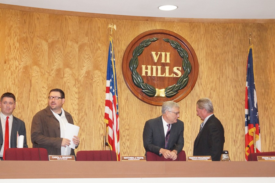 Seven Hills Councilmen, preparing to disregard democracy. (Matthew Trafis far left.) - SAM ALLARD / SCENE