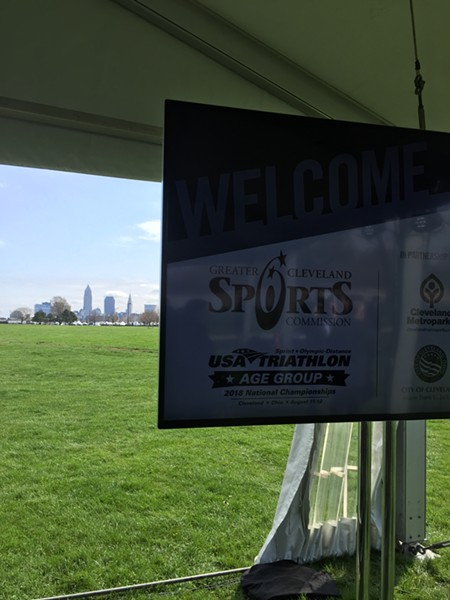 The press tent, with Cleveland's skyline in the background. - SAM ALLARD / SCENE