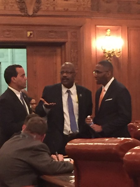 L-R: Jeff Johnson, Kevin Conwell, Zack Reed; one half of City Council's opposition on the Q deal. - SAM ALLARD / SCENE